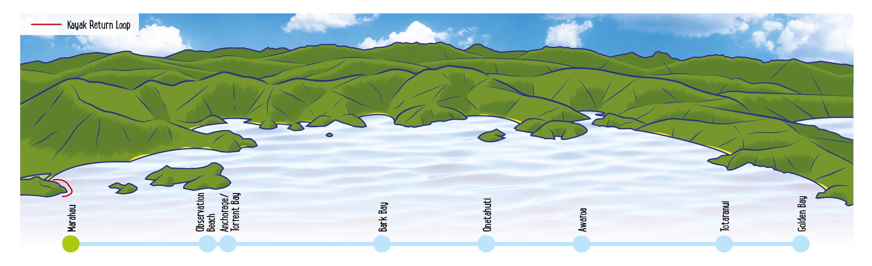 Split Apple Rock Loop Map - Able Tasman Kayaks
