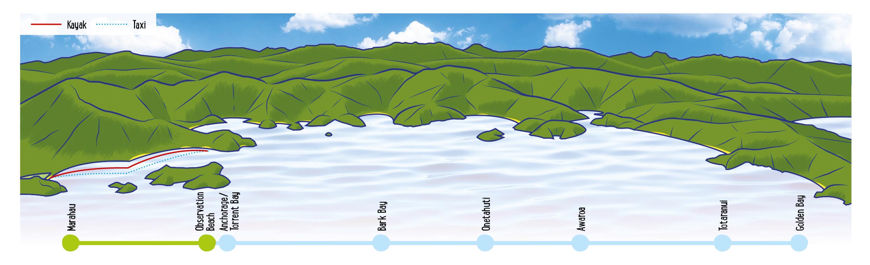Half Day Kayak Water Taxi Map - Abel Tasman Kayaks